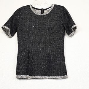 Cabi knit speckled gray top